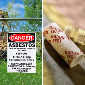 Asbestos warning sign on a fence and a radon gas test kit.