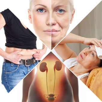 Symptoms of menopuase showing weight gain, wrinkles, fatigue and urinary problems.