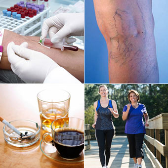 Photo collage of a doctor performing a blood test ona patient, varicose veins on a leg, coffee, alcoholoc drink, cigarette, and women pwer walking for exercise.
