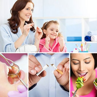 A mother and daughter floss their teeth; a dentist examines a patient; a man breaks a cigarette; and a woman eats a salad.