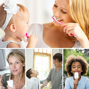 A mother and daughter brush their teeth; a woman eats yogurt; a boy rinses his mouth; and a boy eats a popsicle.