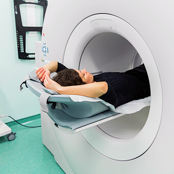 A PET scan can help determine breast cancer staging.