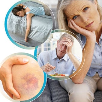 Signs and symptoms of cirrhosis include fatigue, weakness, loss of appetite and bruising.