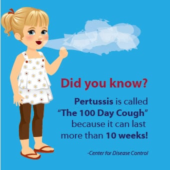 Whooping cough can last for 10 weeks, and a vaccination can prevent whooping cough.