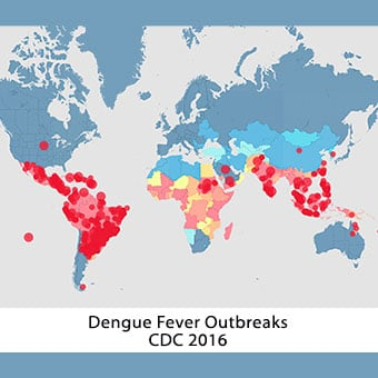 Dengue fever affects tropical areas around the world.