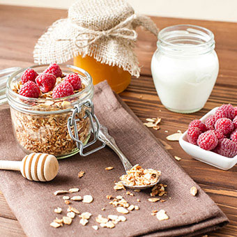 An assortment of high fiber foods that helps prevent constipation, which in turn may help prevent diverticulosis.