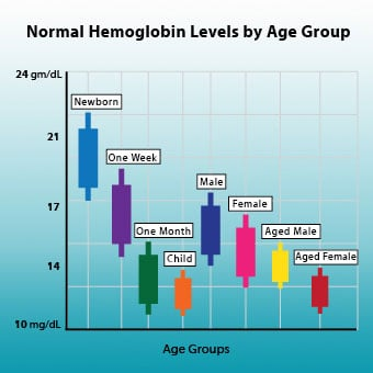 An illustration infograph chart of normal hemoglobin levels by age group.