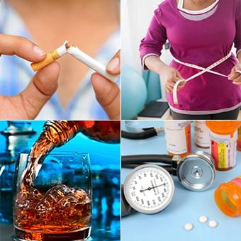 Collage of treatments for high blood pressure that include quit smoking, lose weight, avoid alcohol and medications.