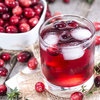 Cranberry juice and cranberries.
