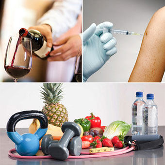 Hepatitis vaccine, pouring a glass of wine and healthy food, diet and exercise.