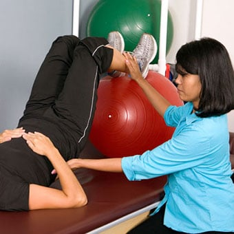 Physical therapy exercise for lower back pain.
