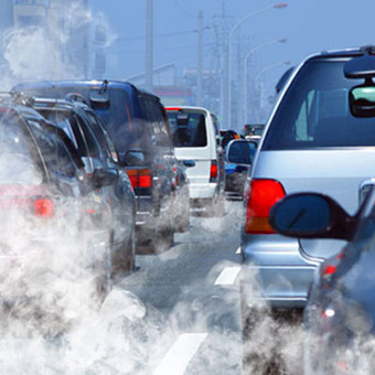 Air pollution from cars stopped in traffic.