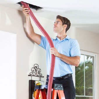 A man on a ladder removes mold from the ceiling vents.