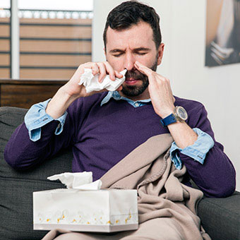 Nasal rinses can help to get rid of mucus.