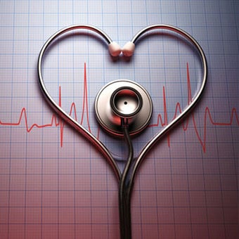 A stethoscope in the shape of a heart on top of a heart rhythm chart.