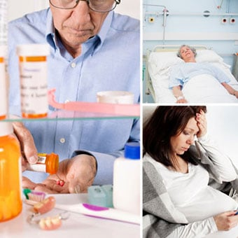 A man stands in front of a medicine cabinet containing antibiotics, corticosteroids, and dentures; a sick woman lies in a hospital bed; and a pregnant woman feels ill.