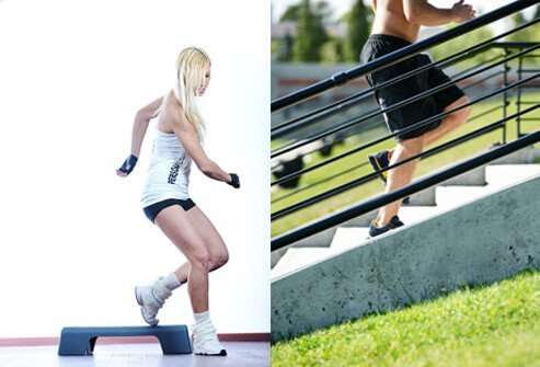 A woman exercises with a stairstep; a man exercises using outdoor steps.