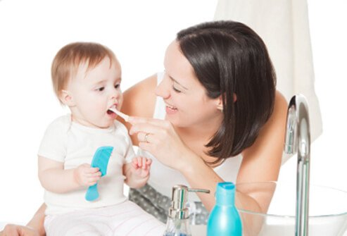 Newborns can benefit from learning good oral health habits early.