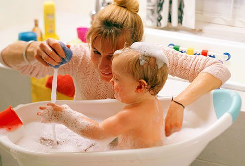 Choose fragrance free nontoxic products for the bathroom that are safe for baby.