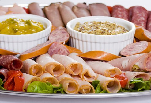 Lunch meats, including deli cold cuts, bologna, and ham, make the unhealthy list because they contain lots of sodium and sometimes fat, as well as some preservatives like nitrites.