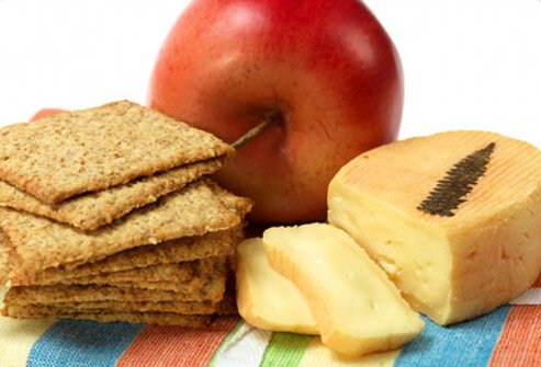Crackers, an apple and cheese.