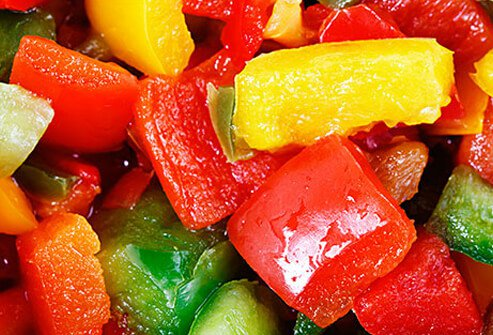 Photo of colorful chopped bell peppers.
