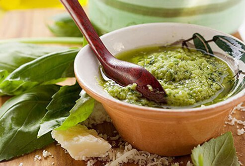 Photo of pesto sauce in a bowl.