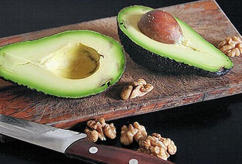 Photo of avocado and walnuts.