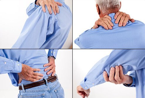 A man suffers from body pains including the shoulder, neck, back, and arm.