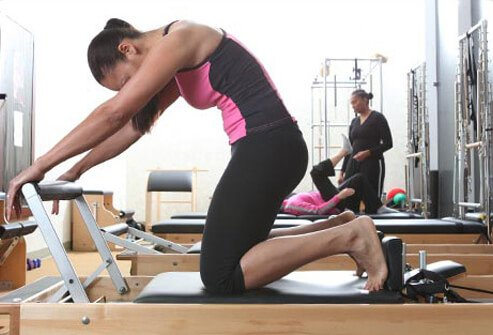 This reformer exercise is an efficient way to work the entire lower body.