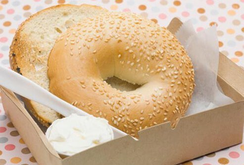 A bagel with cream cheese.