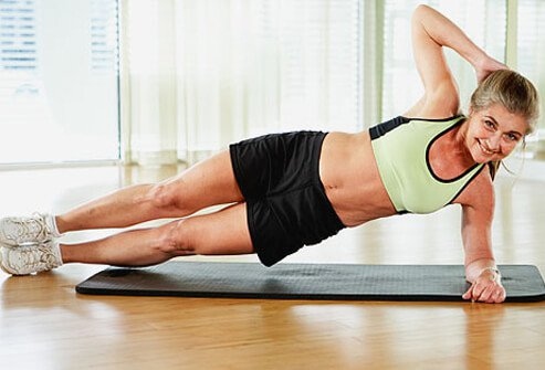 For another abdominal alternative, lie on your side with a bent elbow directly under your shoulder, and use your torso muscles to lift the body up into a side plank.