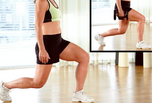 Standing with feet hip–width apart, take a big step forward with one leg, then lower your body toward the floor, front knee aligned with ankle, back knee pointing to the floor.