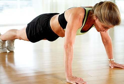 Push-ups strengthen the chest, shoulders, triceps, and core muscles.
