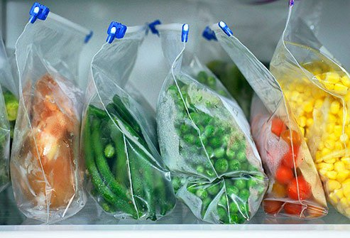 You can save space if you use large re-sealable plastic bags and squeeze out any extra air.
