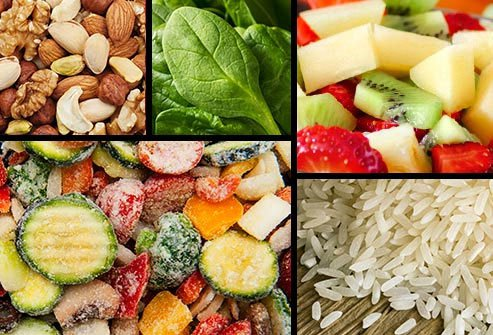 A few go-to foods are always good to have in the house for a snack or to add to a meal: Nuts and seeds, washed greens, hard-boiled eggs, chopped fruit.