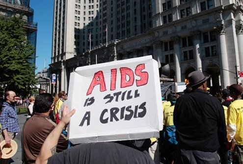 AIDS activists rally in downtown Manhattan.