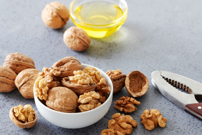 Walnut oil makes a tasty addition to salad dressings and sauces and it's good for your heart and skin.