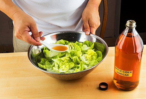 Add a little ACV to salad to keep germs at bay.