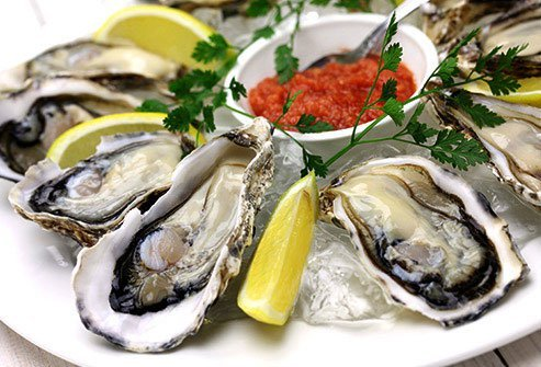 Oysters are acne preventing foods because they are high in zinc.