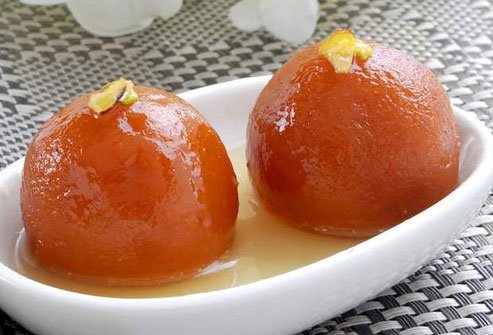 Skip gulab jamun that is made of milk, sugar, and ghee and deep fried.