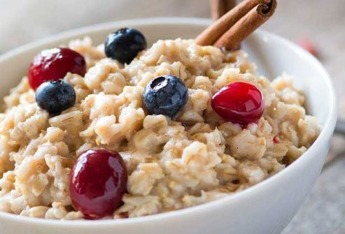 Fiber in oatmeal is filling and melatonin in the warm cereal will help you sleep.