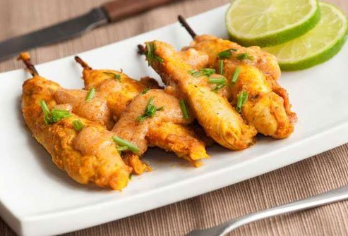 Chicken satay is a good option as long as you don't go overboard on the peanut sauce.