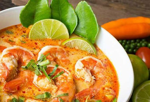 Tom Yum soup is packed with protein, veggies, and few calories.