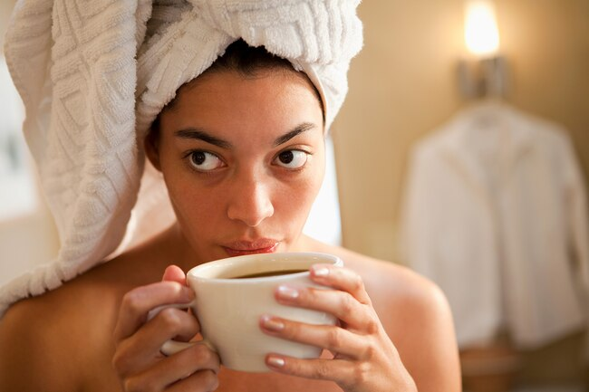 Caffeine gives you energy, but if you drink it too close to bedtime it may keep you up at night and lead to tiredness the next day.