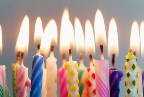 Photo of candles on cake.