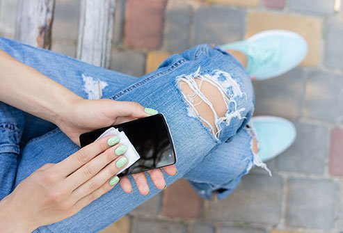 Wipe down your smartphone to remove grime and germs.