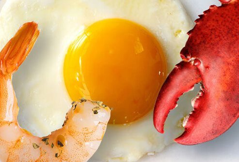 Cholesterol rich foods: shrimp, eggs, and lobster.