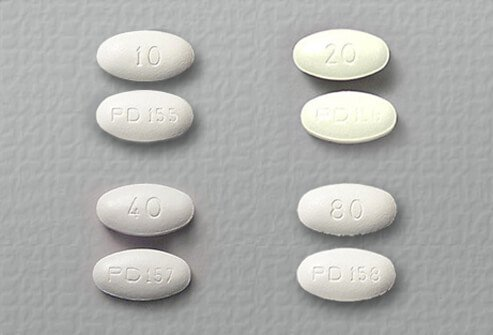 atorvastatin (Lipitor) tablets of 10, 20, 40, and 80 mg.