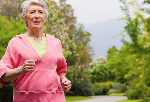 Photo of an older woman running to treat COPD.